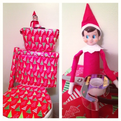 Elf on the Shelf - Wrapping the toliet